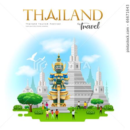 thai giant with Arun temple in bangkok thailand travel design 66671643