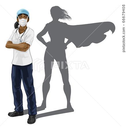 Superhero Nurse Doctor Woman Super Hero Shadow 66679408
