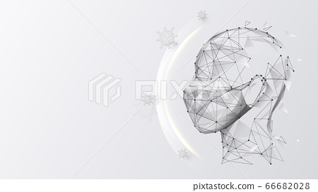 Man Wearing Mask Protects Against Germs, Virus Covid-19, Bacteria. Anti Virus Concept Mask 66682028