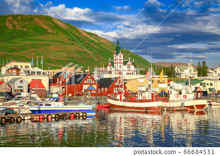 Town of Husavik at sunset, north coast of Iceland 66684531