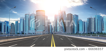 Road and skyscrapers. Highway to modern city 66696937