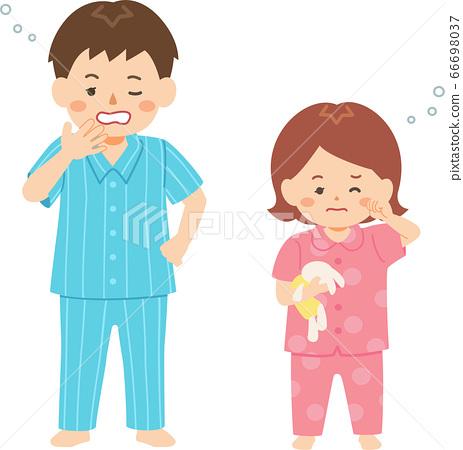 弟弟和妹妹在昏昏欲睡的睡衣 66698037