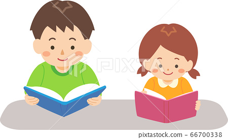 Brother and sister reading a book 66700338
