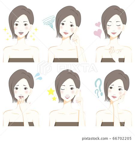 바스트 업 튜브 톱 여성의 표정 변화 66702205