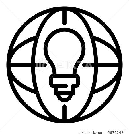 Global bulb idea icon, outline style 66702424