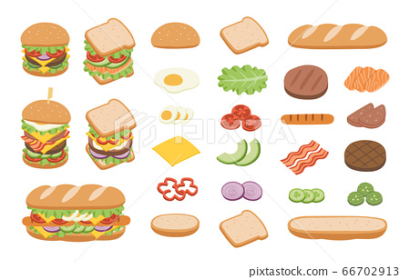 Set of ingredients for burger and sandwich. Fast food concept. 66702913