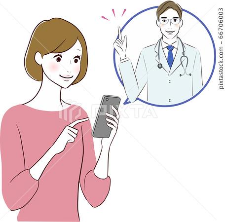 一個女人接受智能手機的藥物治療 66706003