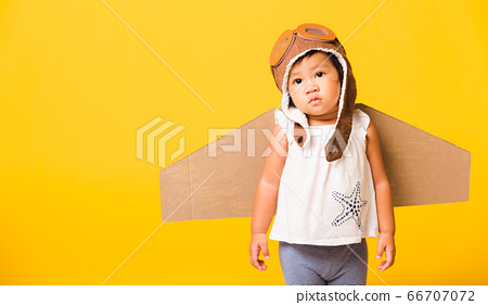 Kid little girl smile wear pilot hat play and 66707072
