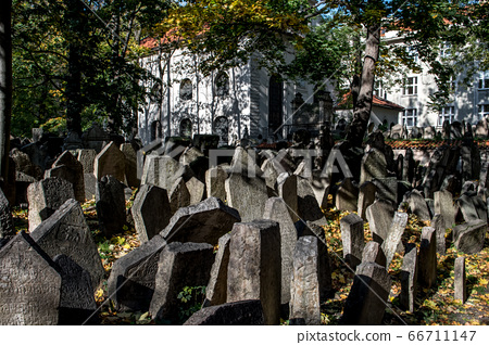 Old Weathered Tombstones On Jewish Cemetery In Prague In The Czech Republic 66711147