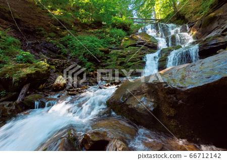 Carpathian waterfall Shypot in the morning. 66712142