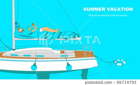 放鬆在遊艇上的女人在度假 66714793