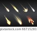 Falling comets set on transparent 66715283