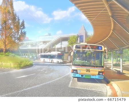 한큐 西宮北口 버스 터미널 가을의 푸른 하늘] 66715479
