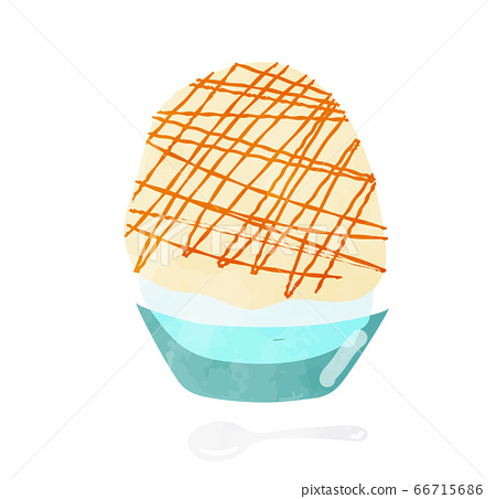 Illustration of a spuma shaved ice with caramel sauce Watercolor style 66715686