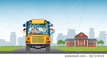 Happy smiling kids riding on a yellow school bus 66724426