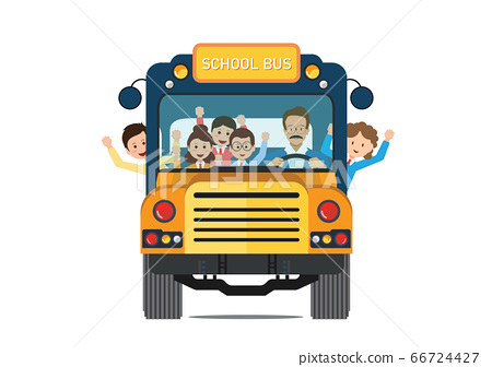 Happy smiling kids riding on a yellow school bus 66724427