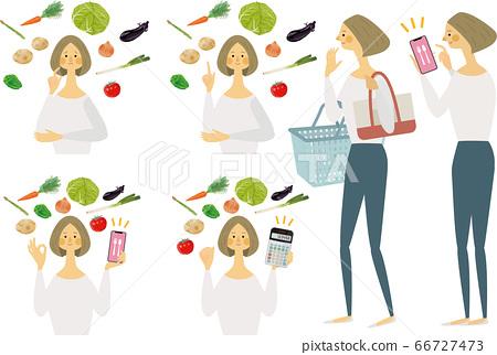 식단을 생각하는 여성 66727473
