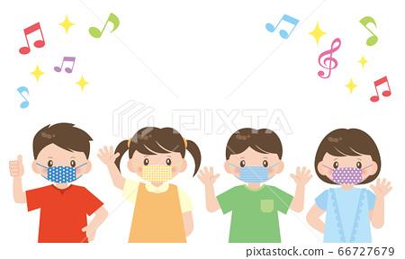 孩子們與音符框架和多彩的面具 66727679