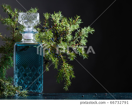 Blue gin in crystal decanter and juniper branch 66732791