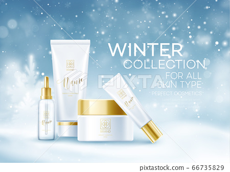 Winter cosmetics background template. Cosmetic tubes on Winter snowy landscape background. Snow dust background. Vector illustration 66735829