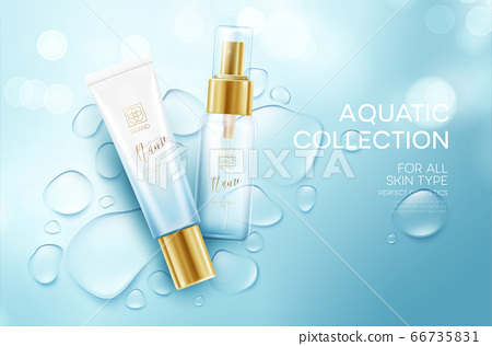 Cosmetics on a background with water drops. Moisturizing Face Cream Design Template. Vector illustration 66735831