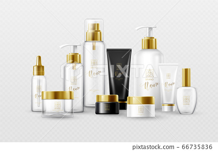 Set of mockup template white, black and glass cosmetic bottles with gold caps isolated on a white background. Real transparency effect. Vector illustration 66735836