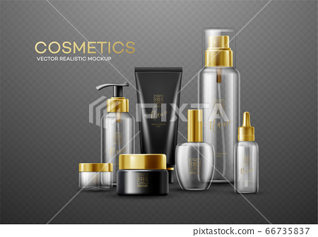 Set of mockup template white, black and glass cosmetic bottles with gold caps isolated on a dark background. Real transparency effect. Vector illustration 66735837