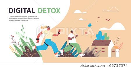 mix race man woman running people spending time without gadgets digital detox offline activities concept 66737374