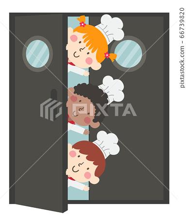 Kids Chefs Door Wave Illustration 66739820