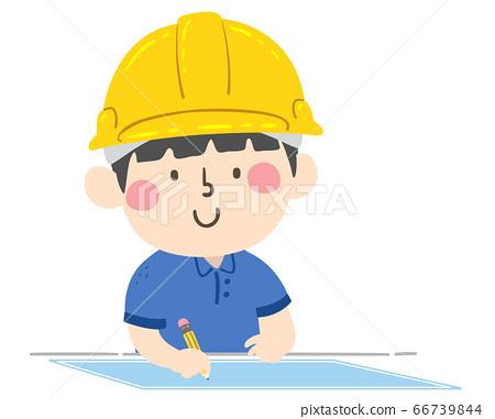Kid Boy Hard Hat Draw Blueprint Illustration 66739844