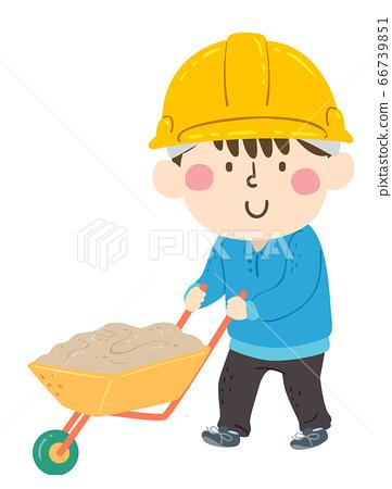 Kid Boy Construction Wheelbarrow Illustration 66739851
