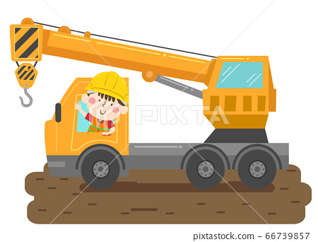 Kid Boy Construction Crane Truck Illustration 66739857