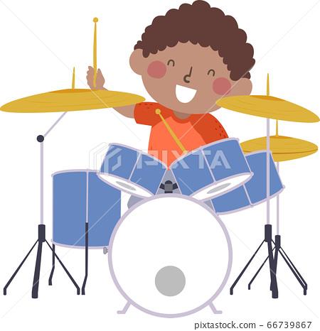Kid Boy Drum Practice Kid Activity Illustration 66739867