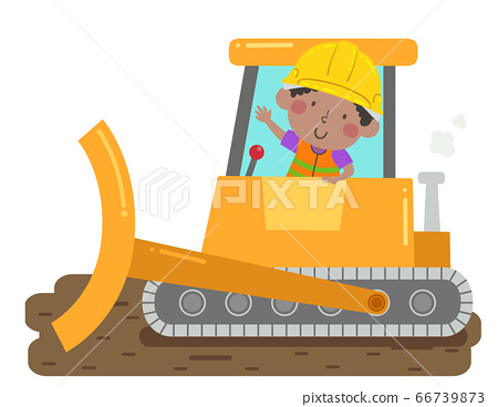 Kid Boy Construction Bulldozer Illustration 66739873