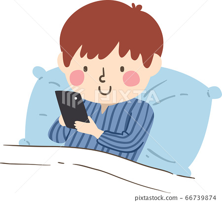 Kid Boy Bed Cell Phone Illustration 66739874