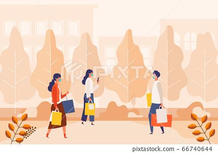 Illustration of People Enjoying Autumn Corona Fall Shopping 66740644