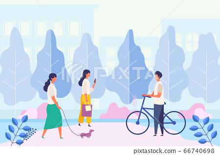 男人和女人在城市公園的人行道上度過假期 66740698