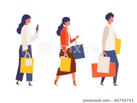 人們享受秋天購物的插圖 66740743