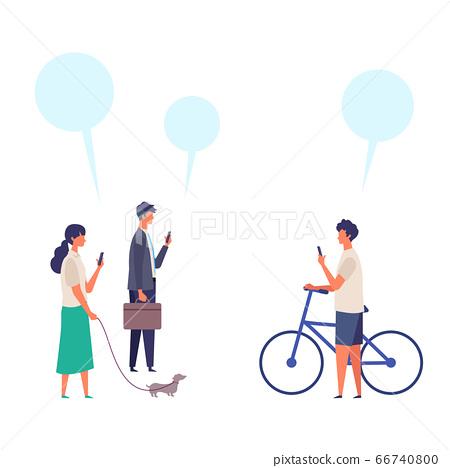 男人和女人觸摸智能手機的時尚形象插圖 66740800