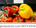 Wet bell pepper lying under light in grocery. Close-up of red and yellow organic vegetables in supermarket. Healthy food, nutrition, vegeterianism, assortment. 66741636