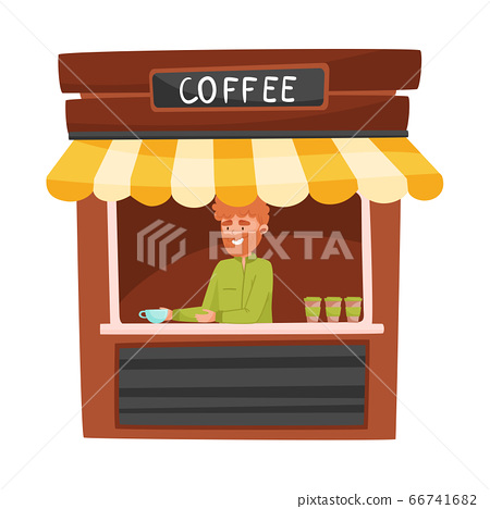 Coffee Street Kiosk or Stall with Bearded Vendor Man Selling Hot Drink Vector Illustration 66741682