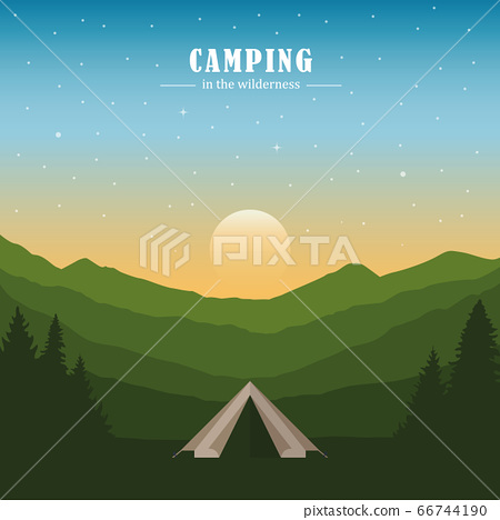 camping adventure in the wilderness tent in the forest at mountain landscape 66744190