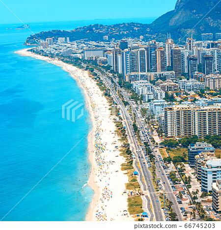 Aerial view of Rio de Janeiro from helicopter: famous Copacabana Beach, Ipanema Beach, Barra da 66745203