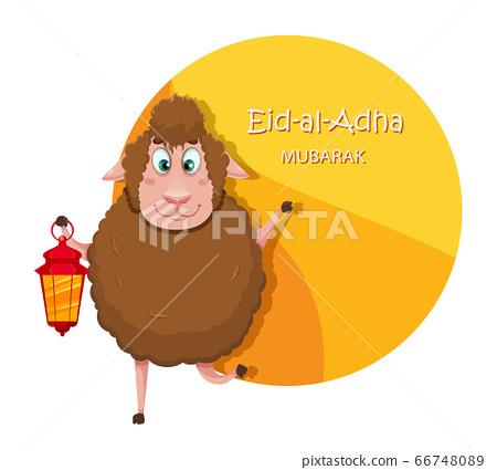 Eid al-Adha Mubarak. Funny cartoon sheep 66748089