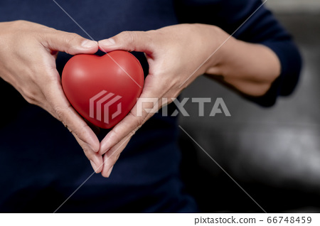 Woman's hand holding red heart shape. Heart disease concept and . love concept. 66748459