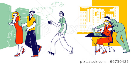 Sexual Assault, Harassment Concept. Male Character Company Boss Put Hand on Woman Shoulder at Workplace. Teenagers Record Video on Smartphone Touching Girl Buttocks. Linear People Vector Illustration 66750485