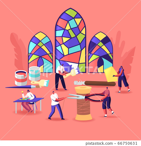 Stained Glass Producing Concept. Tiny Characters with Huge Tools and Instruments Create Beautiful Windows made of Colorful Painted Pieces. Glasswork, Creative Hobby. Cartoon People Vector Illustration 66750631