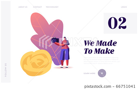 Carving Craft Landing Page Template. Tiny Female Character Make Photo of Fruits and Vegetable Carved Huge Flower. Traditional Thailand Art, Hobby, Creation Food Sculptures. Cartoon Vector Illustration 66751041