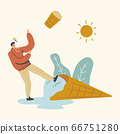 Male Character Slipping on Huge Melted Ice Cream. Sweet Delicious Dessert, Summer Time Food, Cold Meal. Man Enjoying Icecream Treat in Waffle Cone in Hot Summertime Day. Linear Vector Illustration 66751280