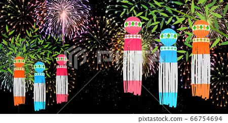 Tanabata煙花夏天背景 66754694